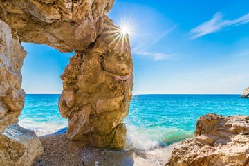 Wall Mural - Rock formations in Lefkada, Kathisma beach, Greece.