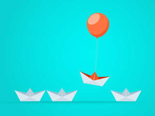 Outstanding the Boat rises above with balloon. Business advantage opportunities and success concept. Uniqueness, leadership, independence, initiative, strategy, dissent, think different.