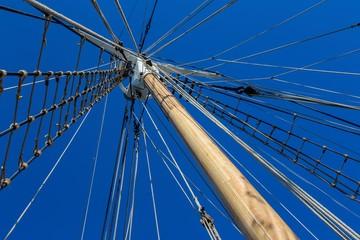Sailboat rigging and big mast