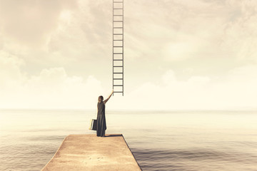 Woman takes up imaginary ladder from the sky to a disenchanted destination