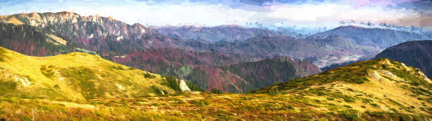 Mountains panorama from Bratocea ridge, Ciucas mountains, Brasov county, Romania, 1720m. illustration art