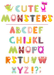 Vector alphabet with letters in the form of cute cartoon monsters