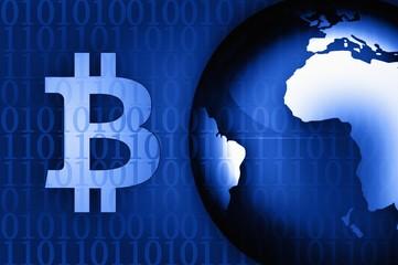 Bitcoin symbol on news background illustration