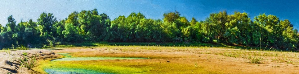 Stale water on the beach. Modern oil painting illustration art