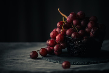 Dark fresh grapes