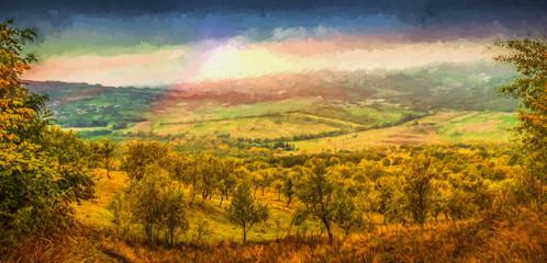 The village. Valea Plopului village, Prahova county, Romania. Modern oil painting illustration art