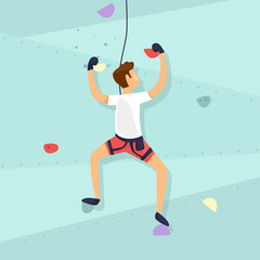 Climbing Wall. Guy is climbing the wall. Flat design vector illustration.