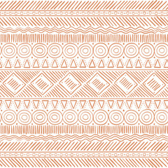 Hand Drawn Tribal Boho Seamless Pattern. Ethnic Geometric Vector Print. Background Texture.