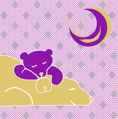 Bear with a bear cub under a pink moon on a pink pattern in a square