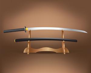Realistic katana sword