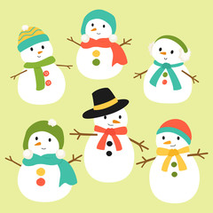 snowman vector collection in different scarf and hat