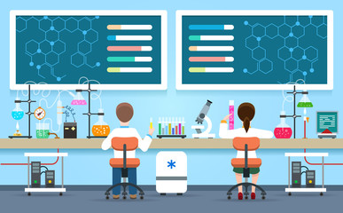 Scientists research in laboratory vector illustration. Chemical lab interior with female researcher and male doctor experiment concept