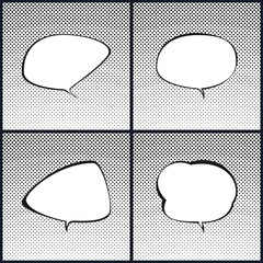 Set of Speech Bubble on Pop Art Halftone Background, White Background with Black Dots ,Gradient from the Top Down, Retro Style , Vector Illustration