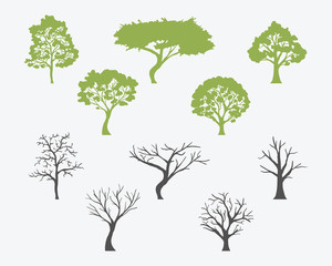 Set Of Trees Silhouettes With Leaves And Bare. Vector Illustartion.