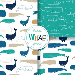 Ocean Patterns With Sperm Whale / Cachalot On White Background. Vector Illustration.
