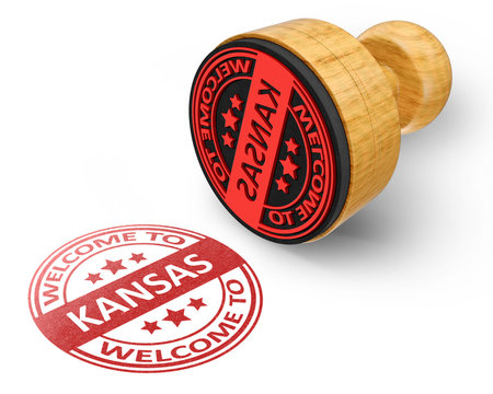 welcome to Kansas red grunge round stamp isolated