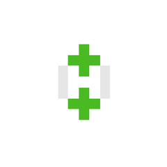 letter H with green cross health logo design vector illustration template