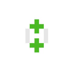 letter H with green cross health logo design vector illustration template