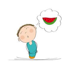 Man thinking of watermelon - original hand drawn illustration