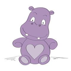 Cute happy hippo - original hand drawn illustration