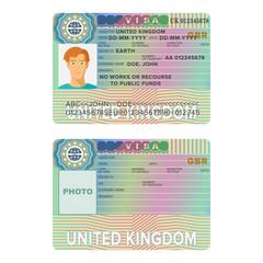 United Kingdom or England visa passport sticker templates.