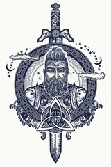 Viking tattoo and t-shirt design. Bearded barbarian of Scandinavia,sword, god Odin, dragon. Symbol of force, courage. Scandinavian mythology. Viking tattoo art print t-shirt design