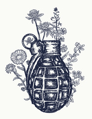 Grenade tattoo and t-shirt design. On the grenade flowers grow.  Symbol of weapon, war and peace, good and evil. Rusty grenade tattoo