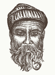 Old sailor, old captain portrait hand drawn. Old man smoking pipe t-shirt design print