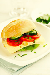 Sandwich with Cheese, Vegetables and Chive