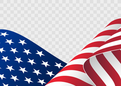 waving flag of the United States of America. illustration of wavy American Flag for Independence Day. American Flag Flowing. American flag on transparent background - vector illustration.
