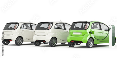 3d Rendering Of Multiple Electric Cars On A White Background Stock