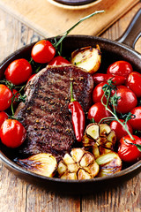 Grilled Beef Steak with Oven-roasted Vegetables