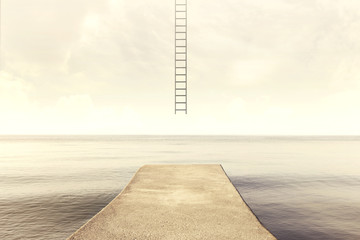 surreal ladder rises up into the sky in a silent sea landscape Wall mural
