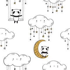 Seamless pattern with cute pandas on the golden moons and swings with stars for textile, wallpapers, gift wrap and scrapbook. Vector illustration.