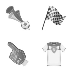 Pipe, uniform and other attributes of the fans.Fans set collection icons in monochrome style vector symbol stock illustration web.