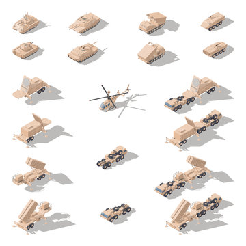 Modern military equipment in desert camouflage isometric icon set