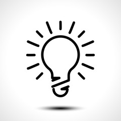 Glowing bulb icon on white background. Vector illustration