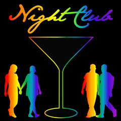 Gay night club background with silhouettes of gay and lesbians