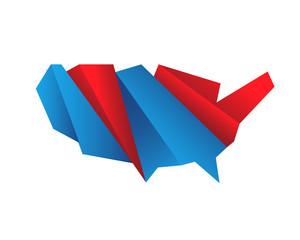 Modern Creative American Map Logo - Digital Abstract Polygonal Shape American Map