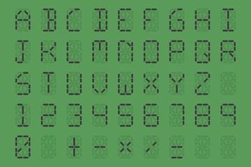 digital font on green background