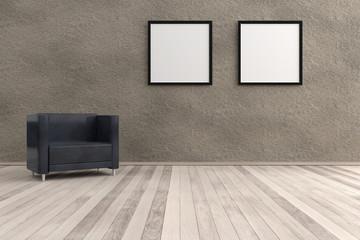 Gemütlich mit Bildern. 3D Wohnraum mit schwarzem Sessel Betonwand und Dielenboden. An der Wand zwei Bilderrahmen schwarz weiss.