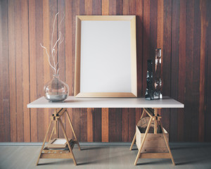 Wooden table with empty frame