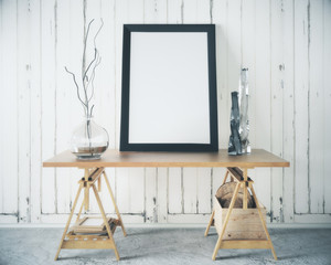 Wooden table with blank frame