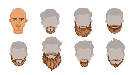 Beard set of stylish beard and brown mustache collection.Variety and Creatively. Simple to apply to your work.Vector illustration, Body parts or Puppet head Charming Isolated on white background.