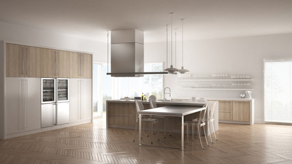 Minimalistic modern kitchen with table, chairs and parquet floor, white interior design