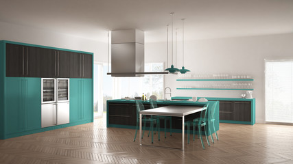 Minimalistic modern kitchen with table, chairs and parquet floor, gray and turquoise interior design