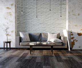 Obraz 3d illustration, living room, minimalism, loft - fototapety do salonu