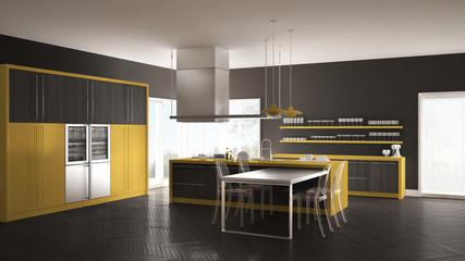 Minimalistic modern kitchen with table, chairs and parquet floor, gray and yellow interior design