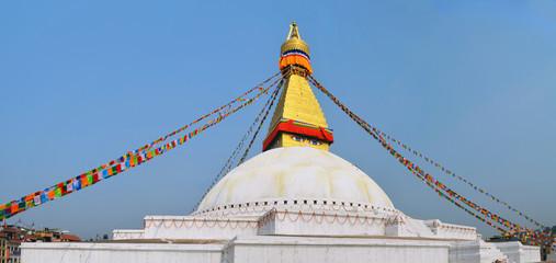 Panoramic image The Great stupa Bodnath in Kathmandu