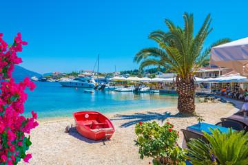 Kefalonia seaport and beach, in Lefkada island, Greece